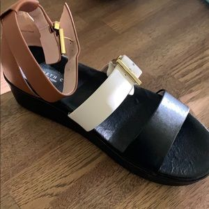 Kenneth Cold Tan, Black, White Striped Sandals